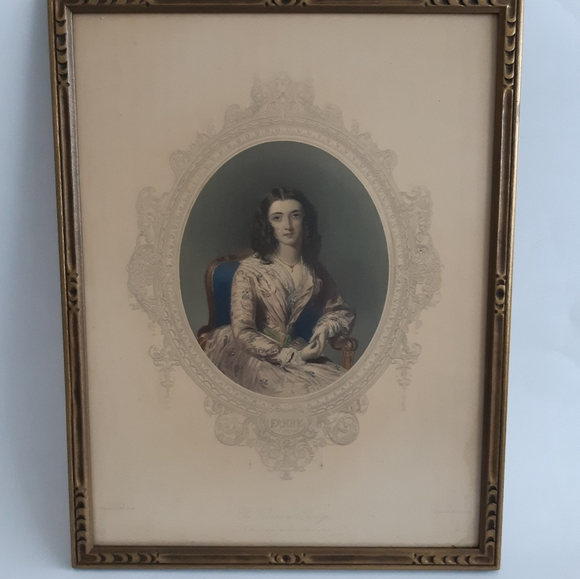 RESERVED Antique Coloured Etched Female Portrait